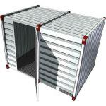 Milieucontainer met enkele deur in de lange zijde - 3 meter