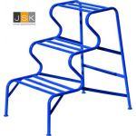 Stukadoorstrap 3'traps | Stukadoorsbank | 3 treden hoogte 75 cm | Blauw gepoedercoat - JSK Handelsonderneming